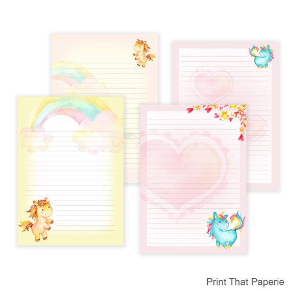 Unicorn Printable Writing Paper Stationary by PrintThatPaperie - printable writing paper template