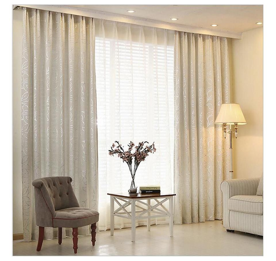 Chenille Jacquard Window Curtains With Matching Lace Curtains Ivory Curtains Living Room Curtains With Blinds Curtains Living Room Modern Living room curtains fabric
