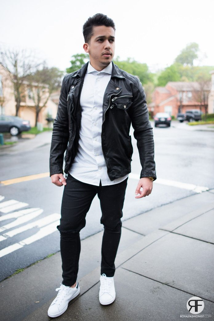 Men's Outfit Idea: White Shirt, Leather Jacket and Destroyed Jeans ...