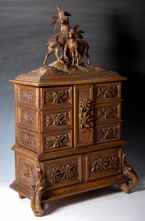 171 2 Tall Antique Black Forest 4 Tier Jewelry Chest C 1870 1900