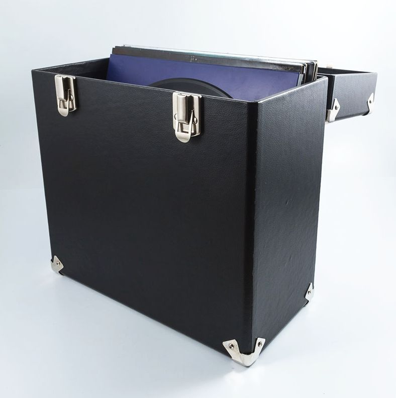 Gpo Record Storage Box Lp Album 12 Vinyl Dj Flight Carry Case Black Vinyl Storage Record Storage Box Vinyl