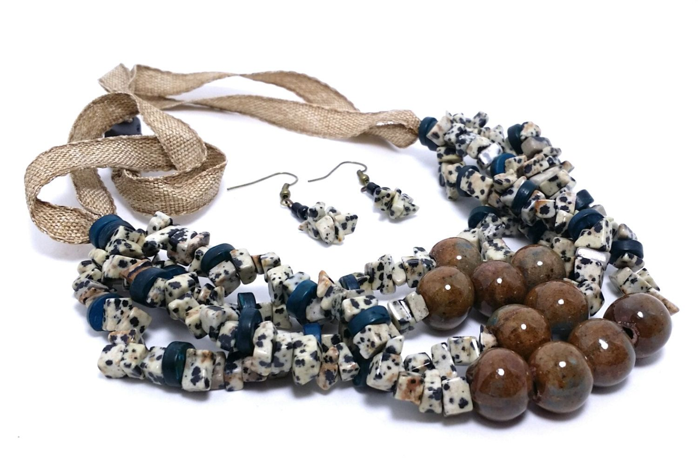 Beaded Necklaces, Custom Jewelry, Ribbon Necklace, Dalmatian Jasper, Multi Strand Necklace, Matinee Necklace by KelKatCustomJewelry on Etsy