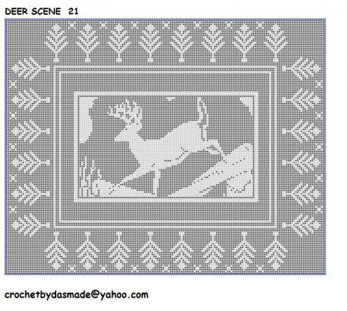 Deer Scene With Border Filet Crochet Doily Bedspread Afghan Pattern Item 21