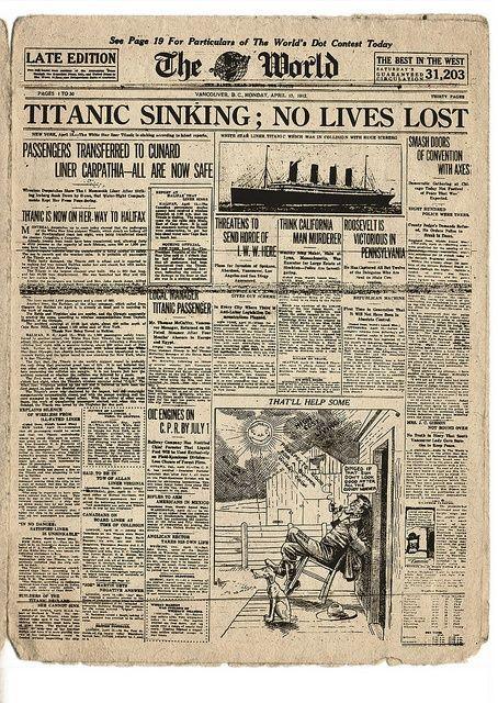 Titanic The World  April   No Lives Lost  Titanic