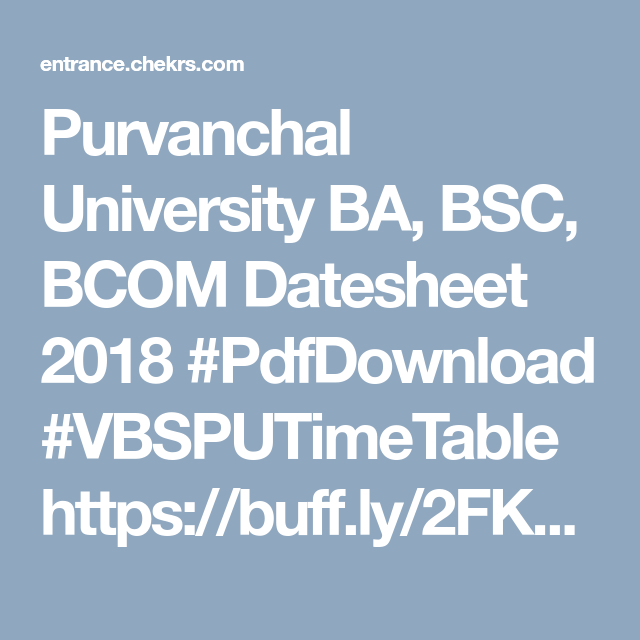 Vbspu Time Table 2019 Online Jobs University College Admission