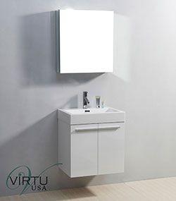 """24"""" Virtu Midori JS-50124-GW Single Sink Bathroom Vanity - Gloss White #Virtu #HomeRemodel #BathroomRemodel #BlondyBathHome #BathroomVanity"""