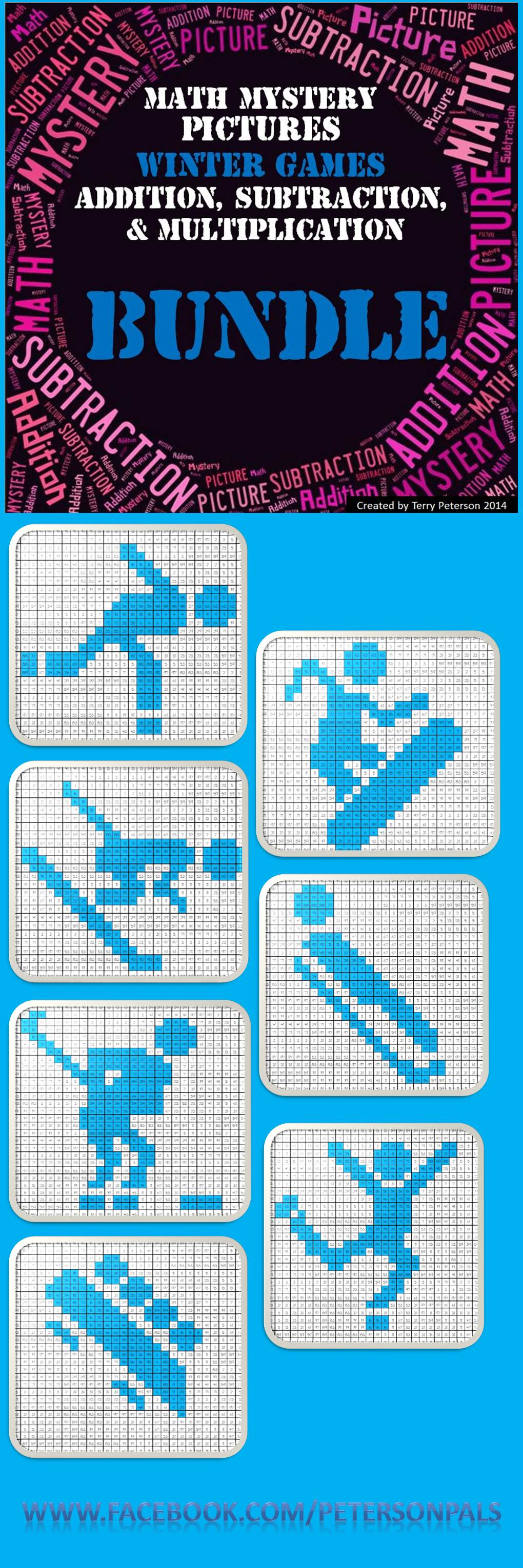 Winter Games Mystery Pictures BUNDLE ~ Addition, Subtraction ...