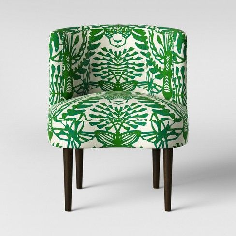 Clary Curved Back Accent Chair Green Cream Animal Print