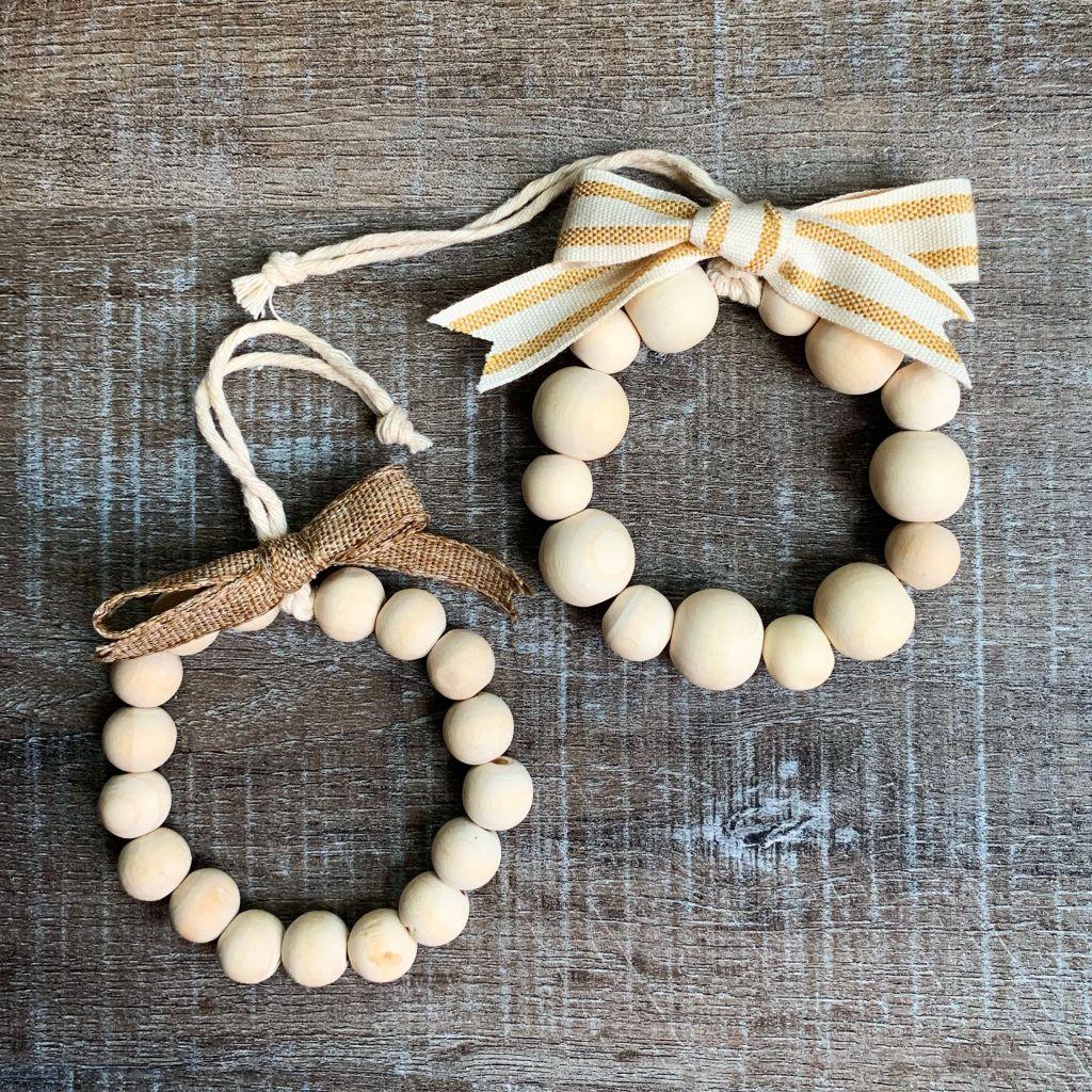 Mini Farmhouse Wood Bead Wreath Ornaments Wood Beads Diy Beaded Ornaments Diy Christmas Bead