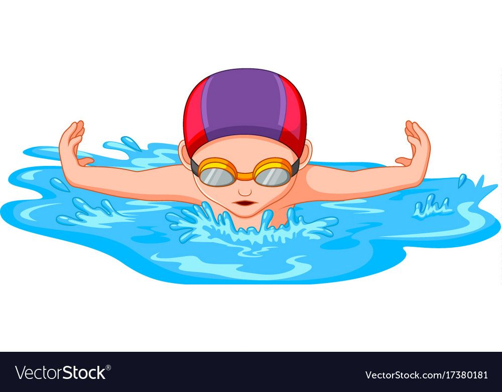 Swimmers During Swimming For Sport Competition Vector Image On Vectorstock Swimming Cartoon Swimming Illustration