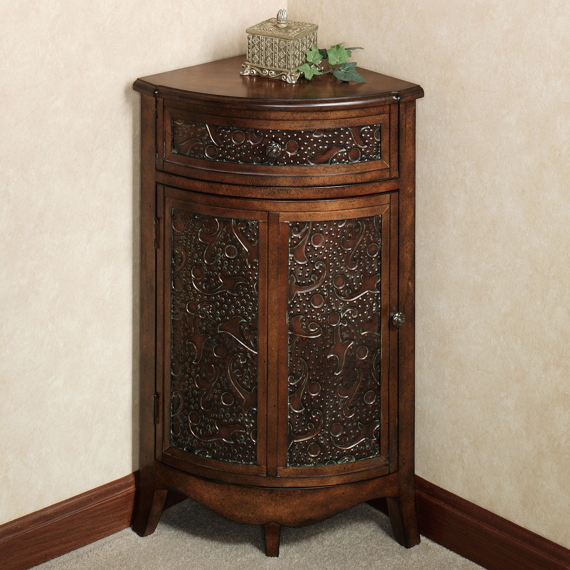 Lombardy corner storage accent cabinet english walnut for Small bathroom accent tables