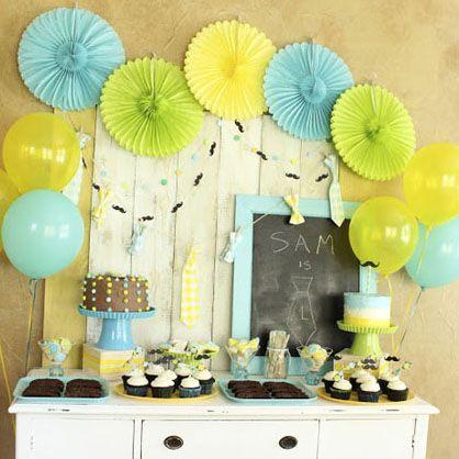 baby boy first birthday blue, yellow, green | Themed ...