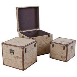 Decorative Stackable Boxes Stackable Trunks  Decorative Script Trunks Set Of 3  Room