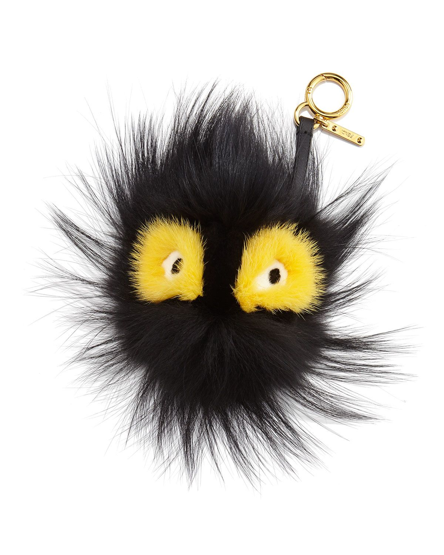 Fur Ball Monster Charm for Handbag, Black/Yellow - Fendi