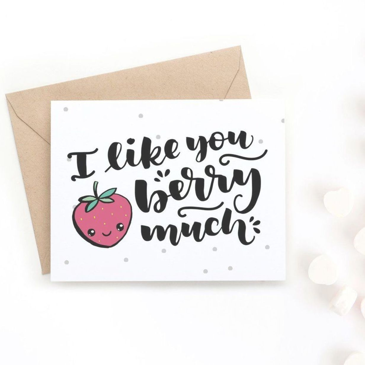 Surprise your valentine with this adorable hand-drawn Valentine's Day card. It says I like you berr