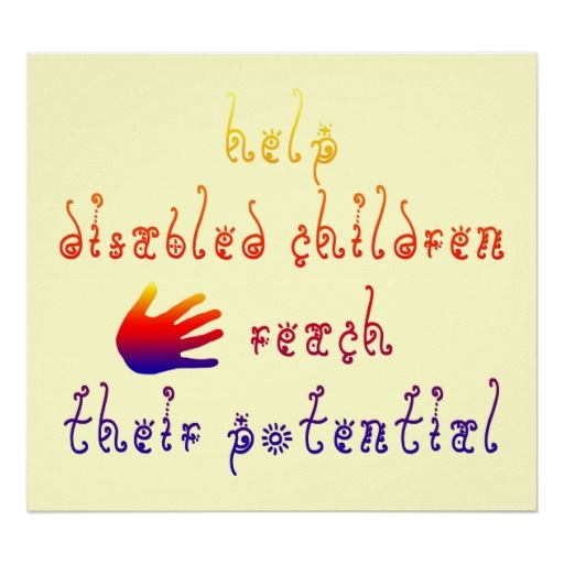 disability awareness posters for kids | Help disabled children reach their potential poster on Zazzle.co.nz