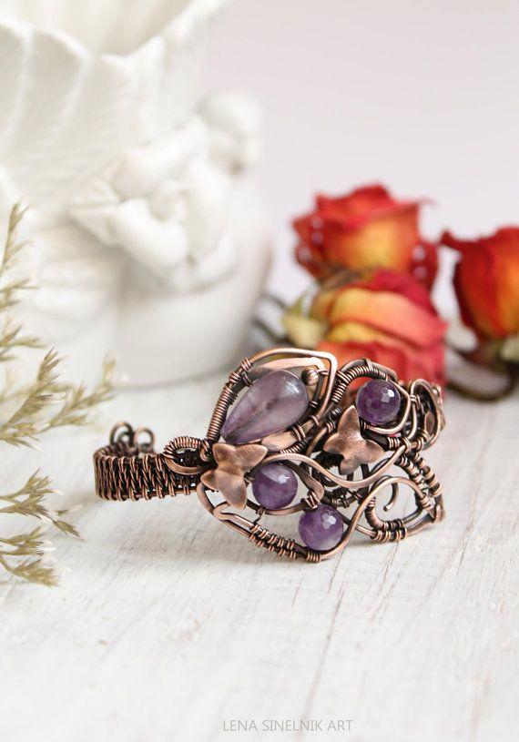 Сopper Bracelet, natural stones bracelet, handmade jewelry,amethyst bracelete, wire jewelry