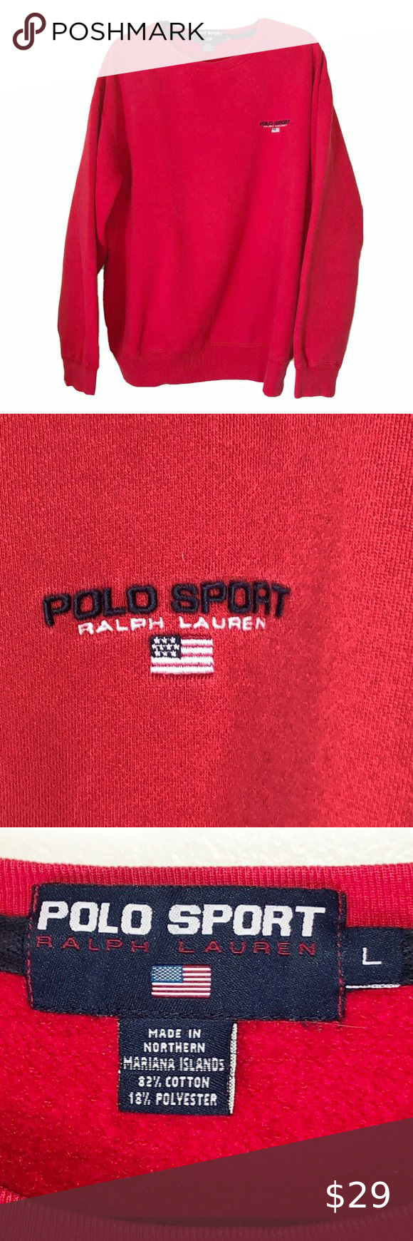 Vintage 90s Polo Sport Flag Spell Out Sweatshirt L Vintage 1990s Ralph Lauren Polo Sport Sweatshirt Red Em Sweatshirt Shirt Sweatshirts Sports Sweatshirts