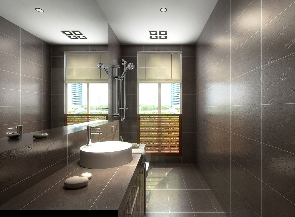 Wonderful For Bathrooms With Wall Tiles In Light Orangebrown And Peach, Walls In Light Slate Gray Provide A Soft Complementary The Hues Are Tied Together When Other Decor Elements Feature Peach And Gray, Such As A Slategray Vanity Base With A