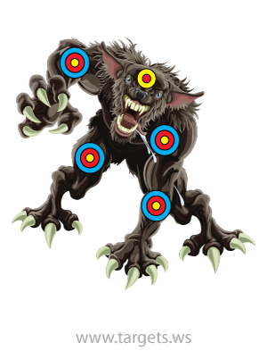 Monster Targets Like This Werewolf Target In High Quality Pdf Files 8 1 2 X 11 And A4 Paper Sizes Fr Paper Shooting Targets Shooting Targets Scary Monsters