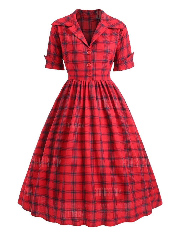 Vintage 50s Dress Red XL Plus Size Dresses Sale, Price