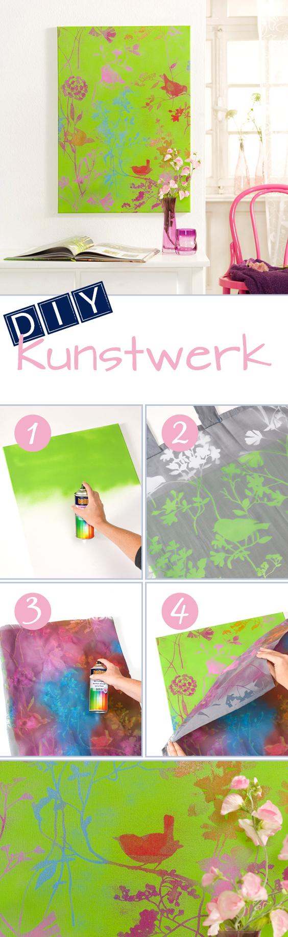 DIY Kunst-Ideen: Mit Sprühlack aus alten Gardinen kreative Gemälde zaubern. // DIY Art Ideas: Perform magic by creating paintings out of old curtains.