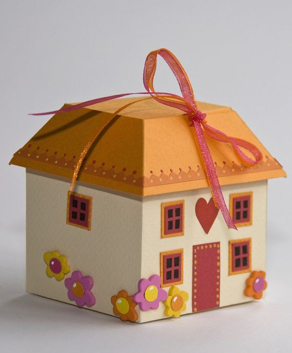 Cottage chocolate Box, gift box pattern New home, moving house - gift box templates free download