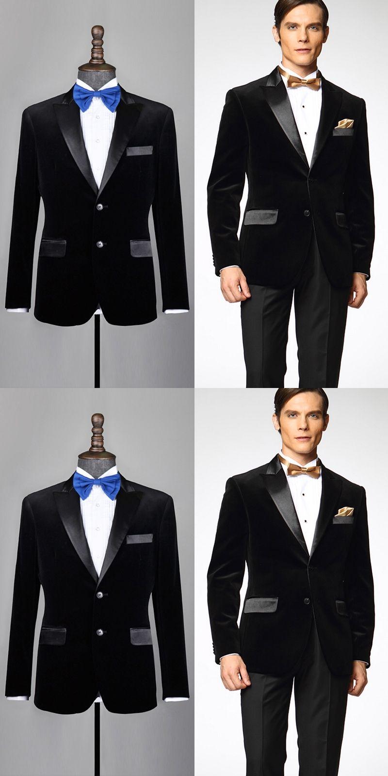 2017 Custom Made Black Velvet Groom Tuxedos Satin Shawl Lapel 2