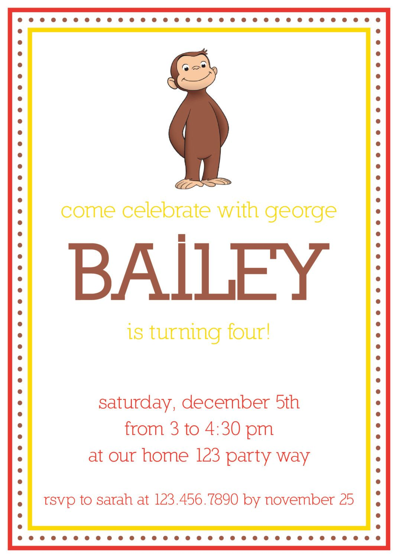 Curious George birthday invitation. | Birthday | Pinterest | Curious ...