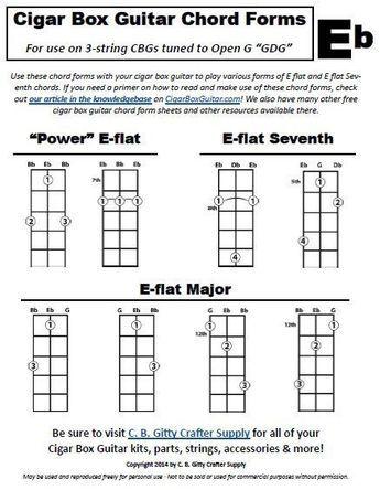 Eb Chord Forms For Cigar Box Guitars Pdf Cigarette Box Pinterest