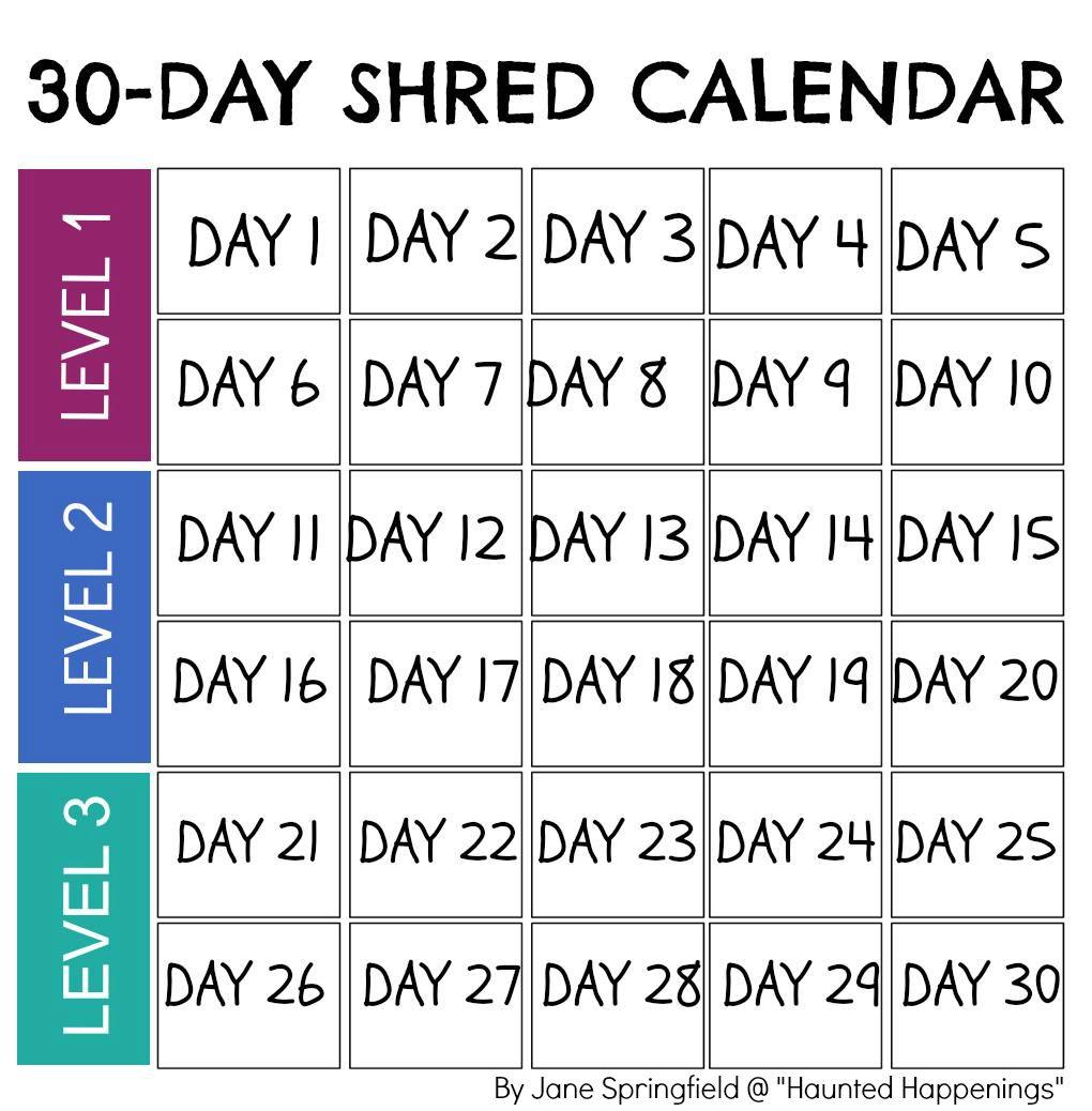 Calendar Template For Jillian MichaelS Day Shred To Keep