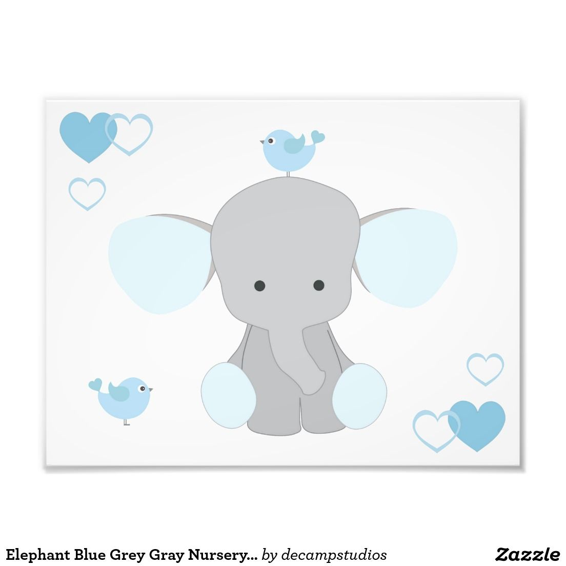 Elephant Blue Grey Gray Nursery Baby Boy Wall Art Photo Print