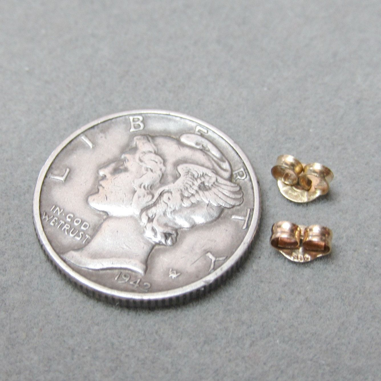 14k Yellow Gold Extra Small Earring Clutch Backs Ear Nuts 4x3mm - pinned by pin4etsy.com