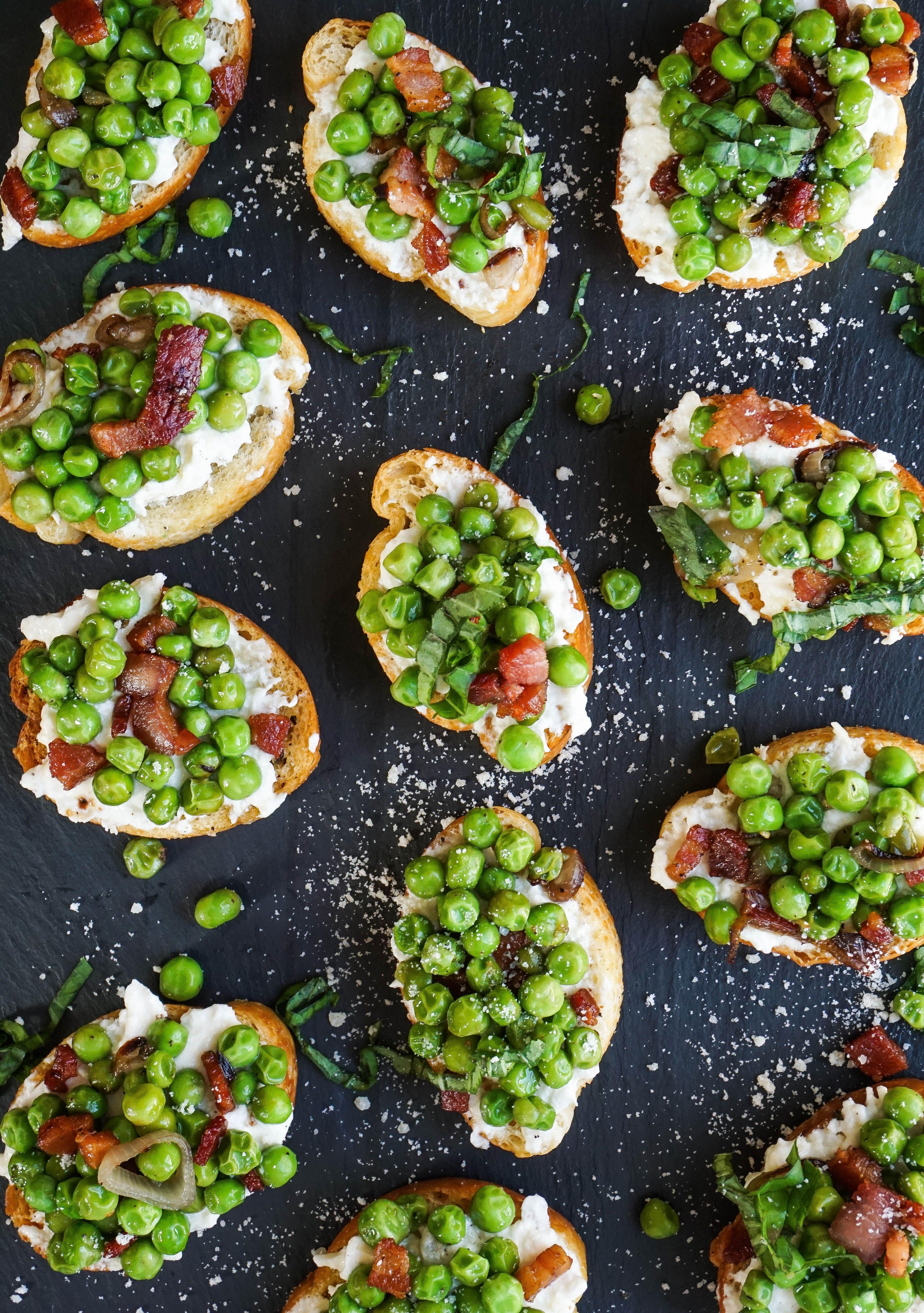 Pea & Pancetta Crostini Recipe Holiday appetizers