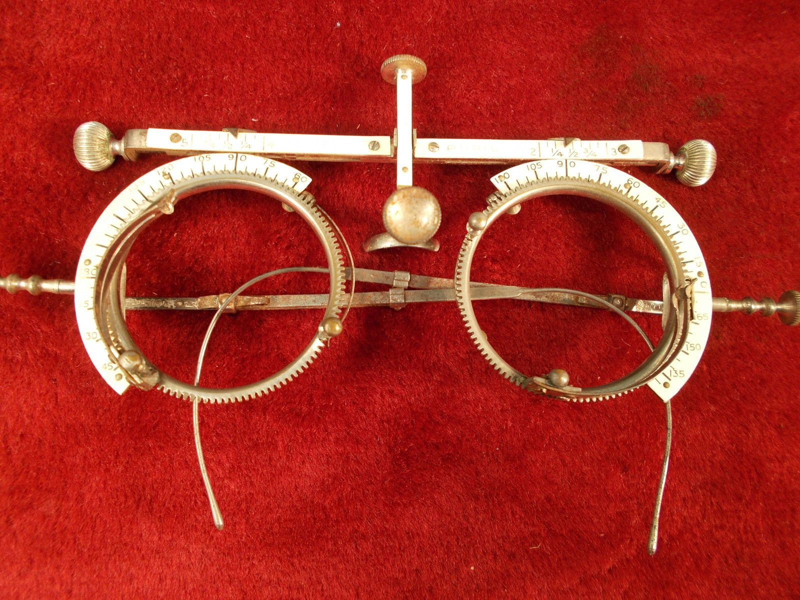 464b2e07577c OLD VINTAGE ANTIQUE 1895 TEMPLE PUPIL EYE DOCTOR EYEGLASSES MEASURING FRAMES!!!