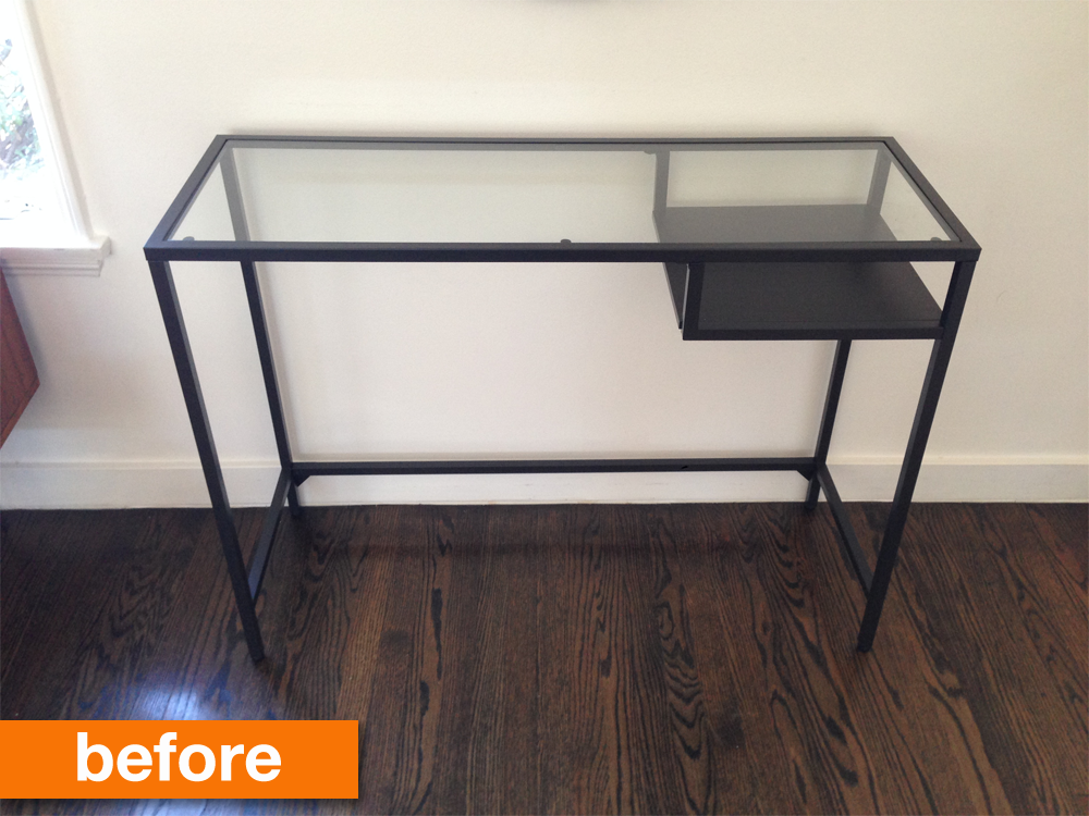 Before After An Ikea Desk To Compact Console For Under