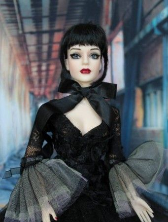 """Sue Townson's Sydney (Tonner doll) does Halloween: """"The second Sydney BJD with default blue eyes in original outfit and wig standing in front of Raintao backdrop"""""""