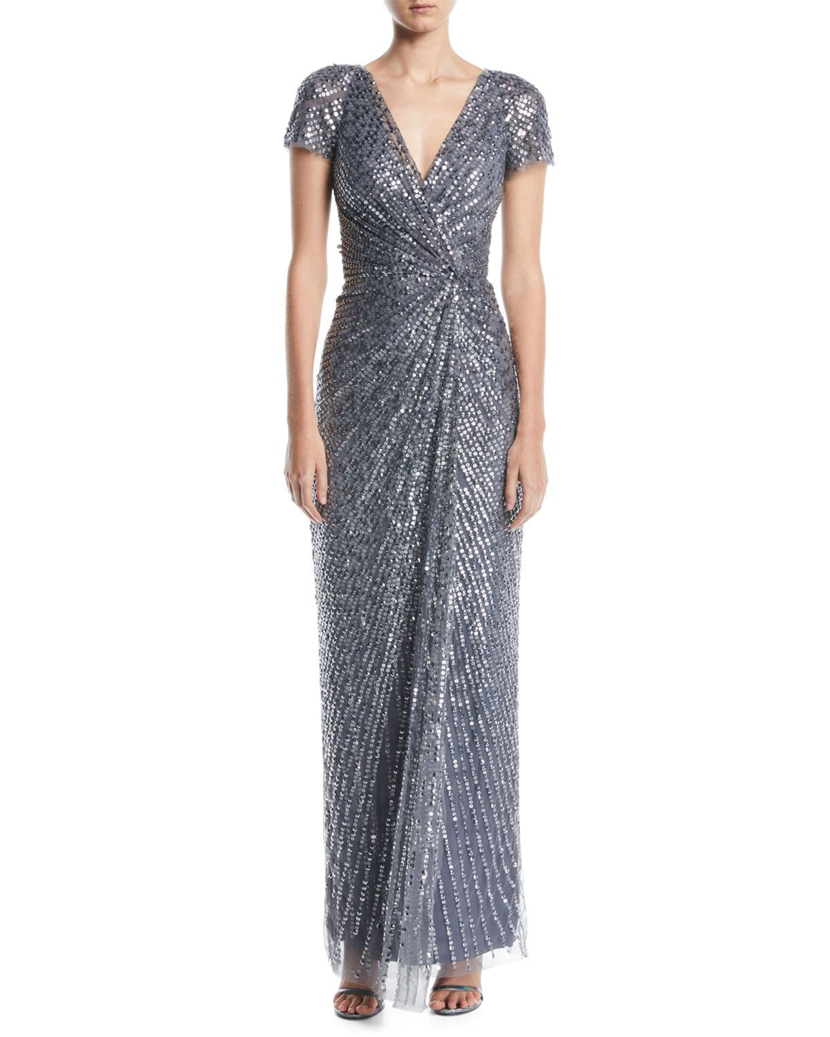 d6615436229 Jenny Packham Carina V-Neck Cap-Sleeve Gathered-Waist Sequin Beaded Evening  Gown