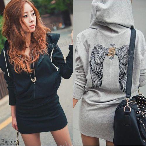 Women Casual Back Wing Printed Hoodie Coat Black/Gray Long Sleeve Zipper Tops  6799 US $13.51