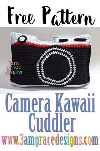 Camera Kawaii Cuddler™ - Free Crochet Pattern | 3amgracedesigns #crochetcamera