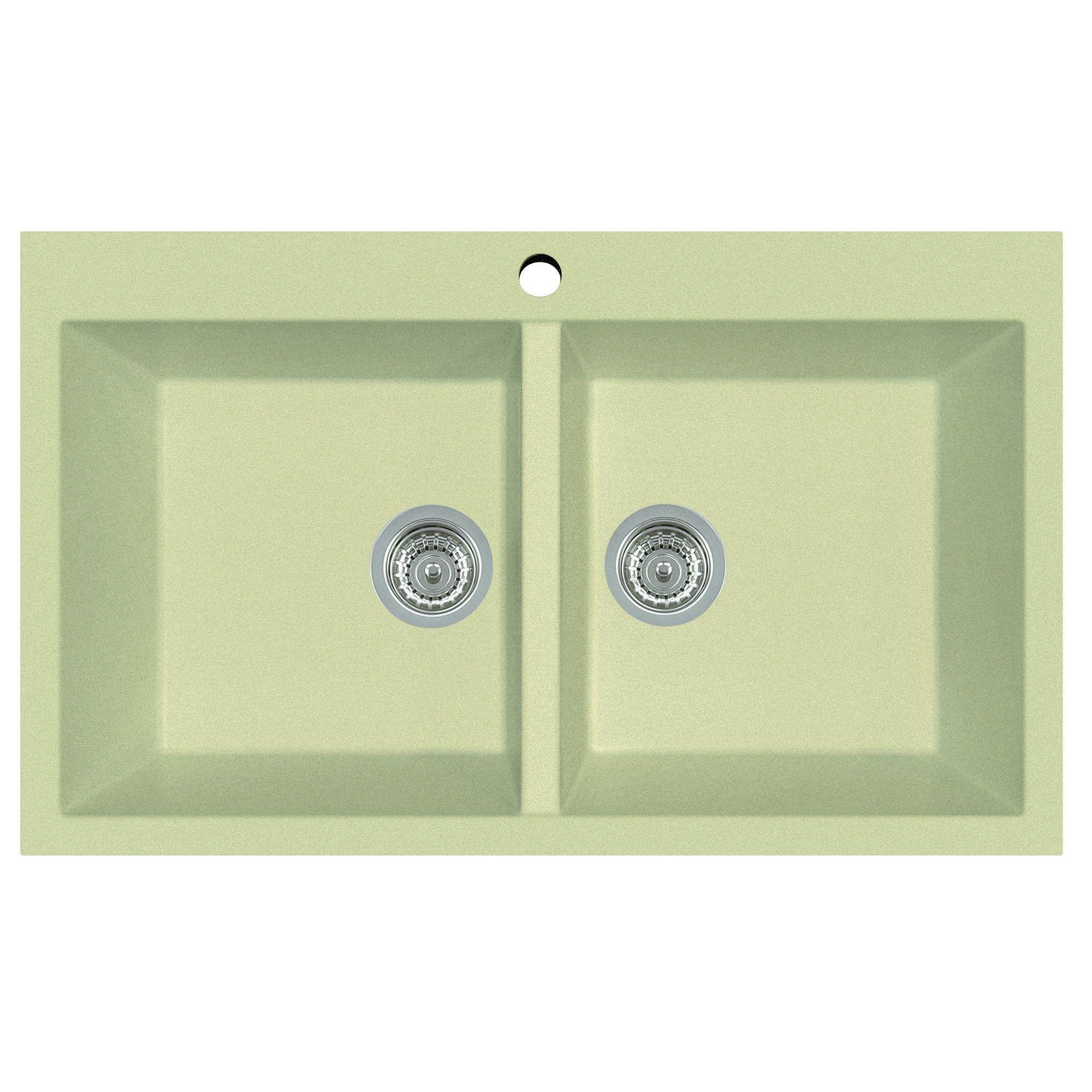 Alfi Biscuit Granite Composite 34 Inch Drop In Double Bowl Kitchen