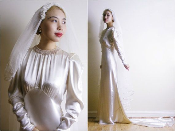 1930s Bias Cut Wedding Dress - Cream Satin Art Deco Wedding Gown ...