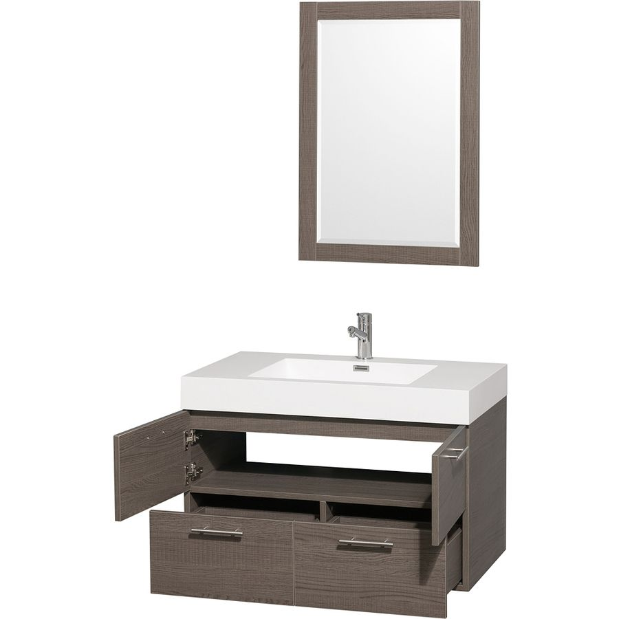 Wyndham Collection Amare Gray Oak 35 In Integral Single Sink
