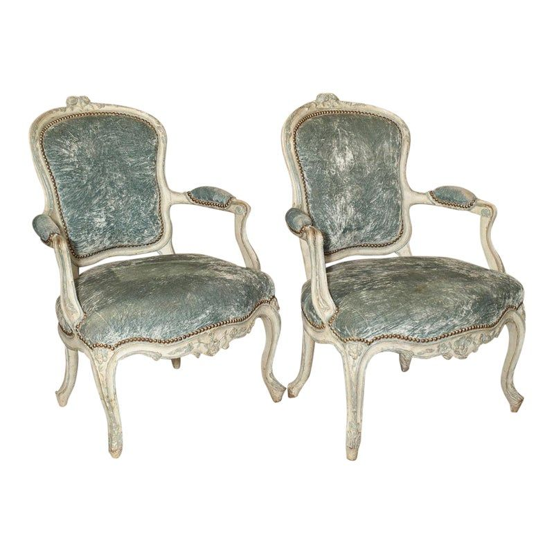 Pair Of Period French Louis Xv Blue And Cream Lacquered Cabriolet Armchairs Armchair Blue Armchair