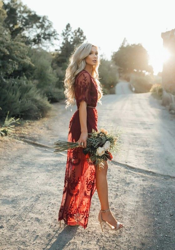 6345493267 Wine Red Floral Chain Lace Flowy Side Slit Maxi Dress | Girls Night ...