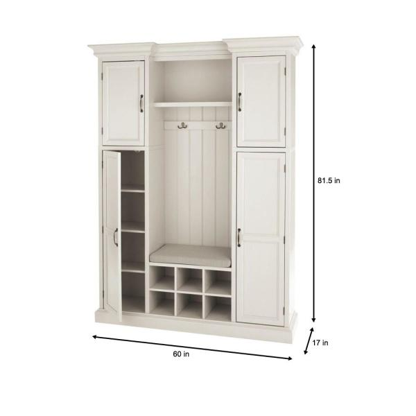 Home Decorators Collection Royce Polar White 60 Hall Tree 7474210410 Hall Tree With Storage Furniture Depot Laundry Room Remodel
