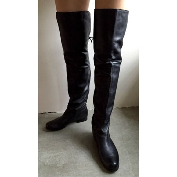 Boutique 58 Over the knee Musketeers Boots 6.5 Boutique 58 Over the knee Musketeers Leather Boots in black, size 6.5 ; High quality mountain boots sole and heel added. Slight scratched on right inner flip. Great for winter!! I once worn them to the snowy icy Berlin Film Festival among of many celebrities during two weeks and these boots kept me warm, I look stylish and I was right to spend $50 to add the mountain soles so I can walk around fast and slippery-less.  ✈️Frequent traveler. Please…