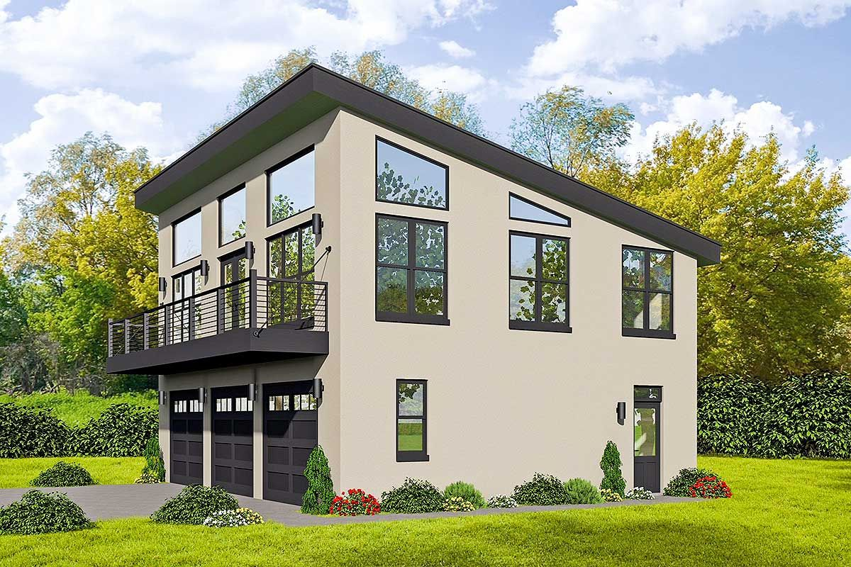 3 car modern carriage house plan with sun deck 68541vr architectural designs house plans