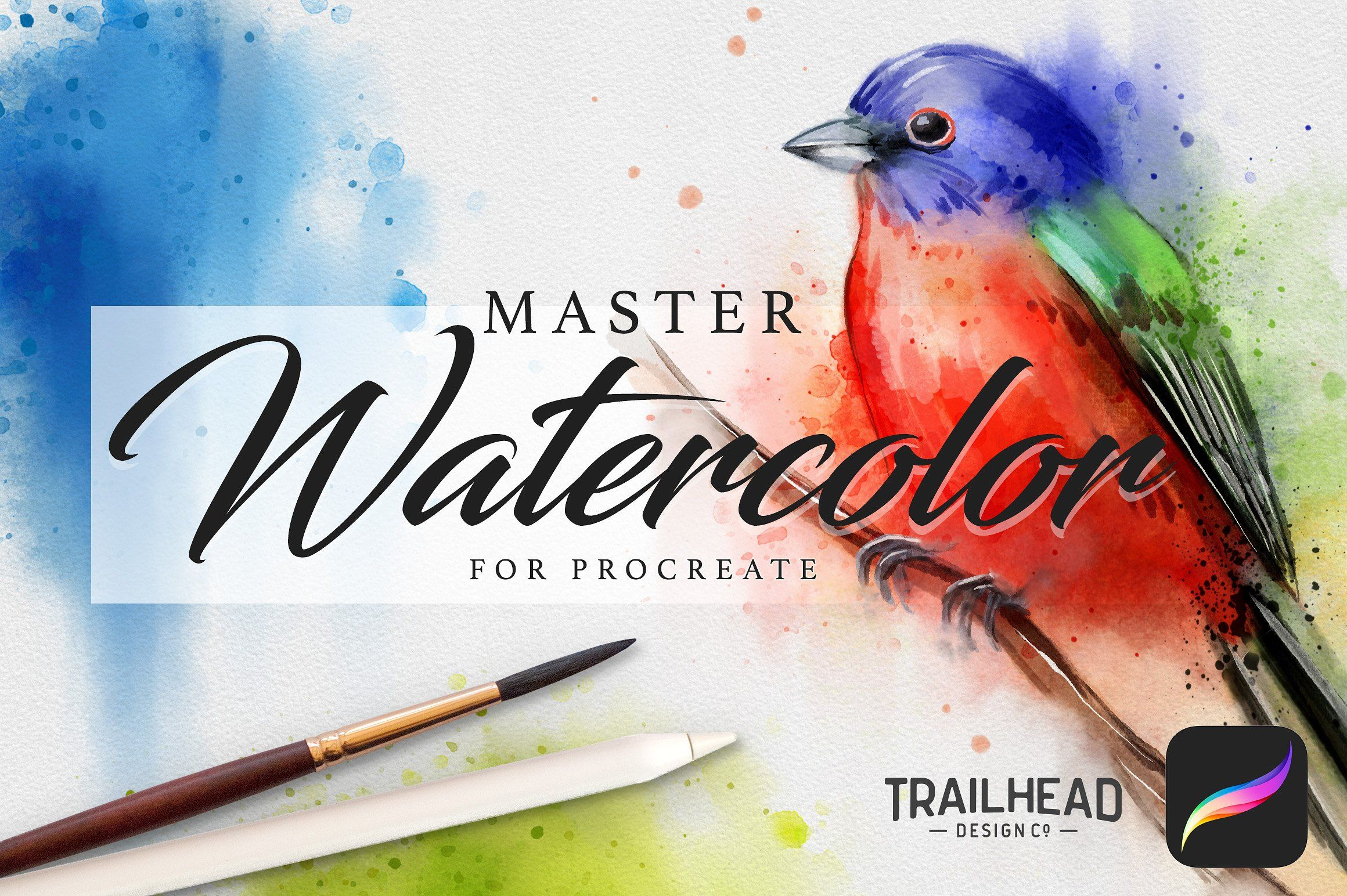 Master Watercolor Procreate Brushes By Trailhead Design Co On