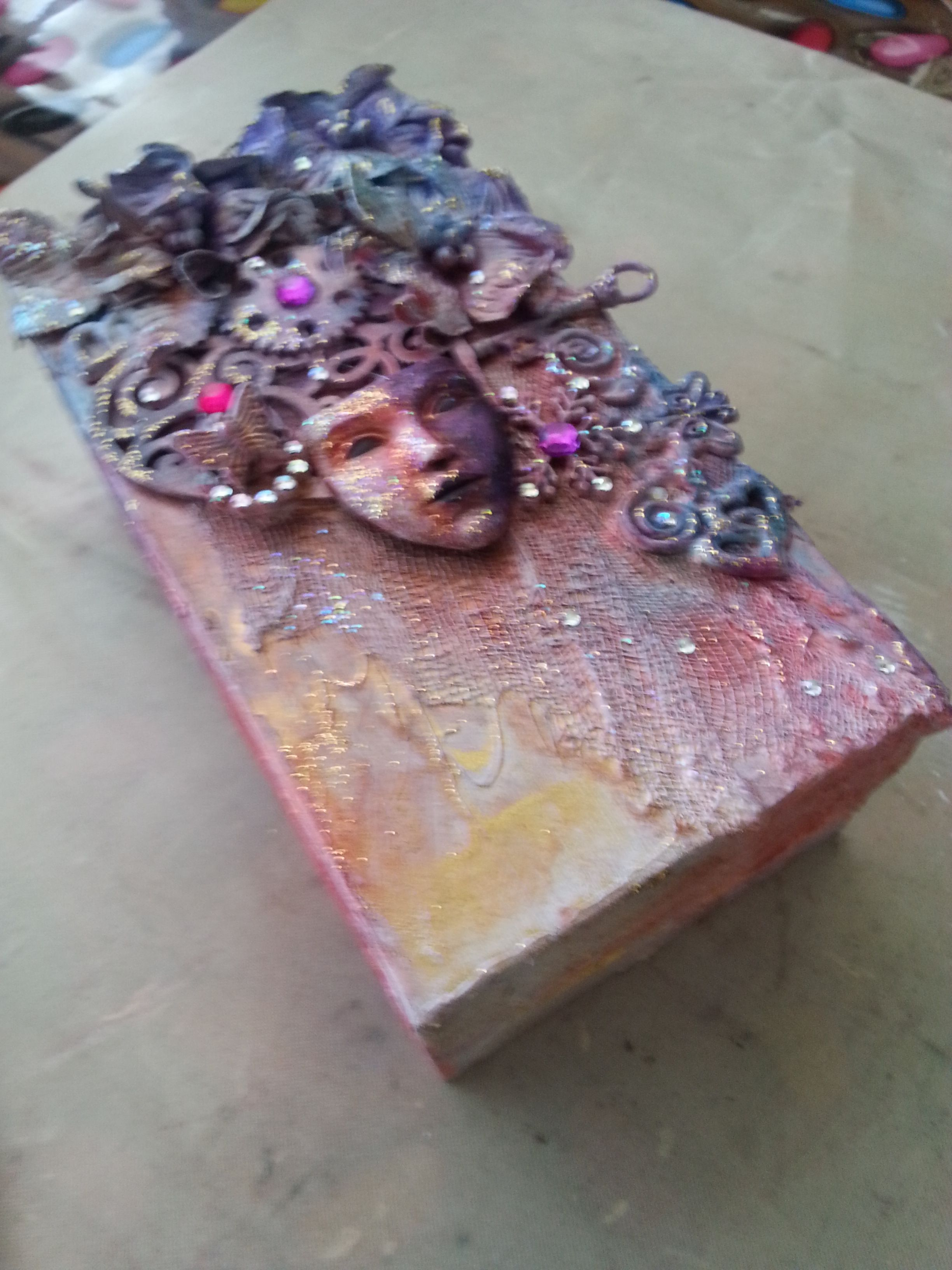 what do you do with your old mobile packaging? make a mixed media decorated box of course... fun project